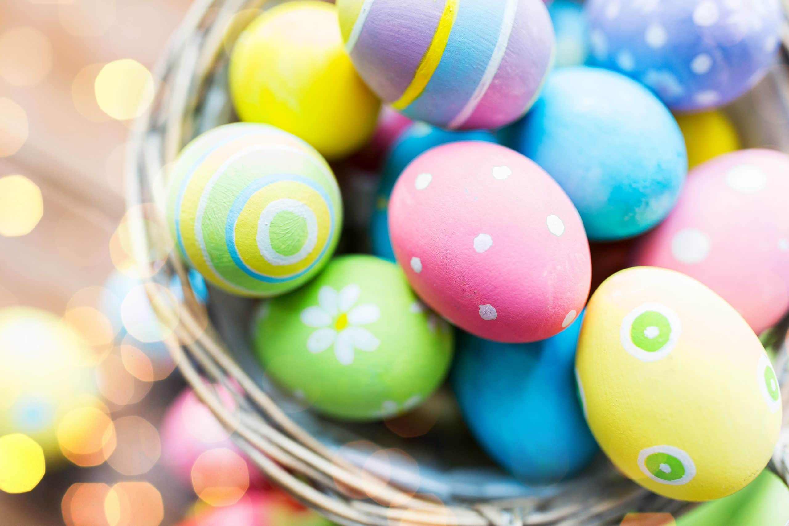close up of colored easter eggs in basket