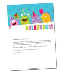 inbjudningskort barnkalas gratis