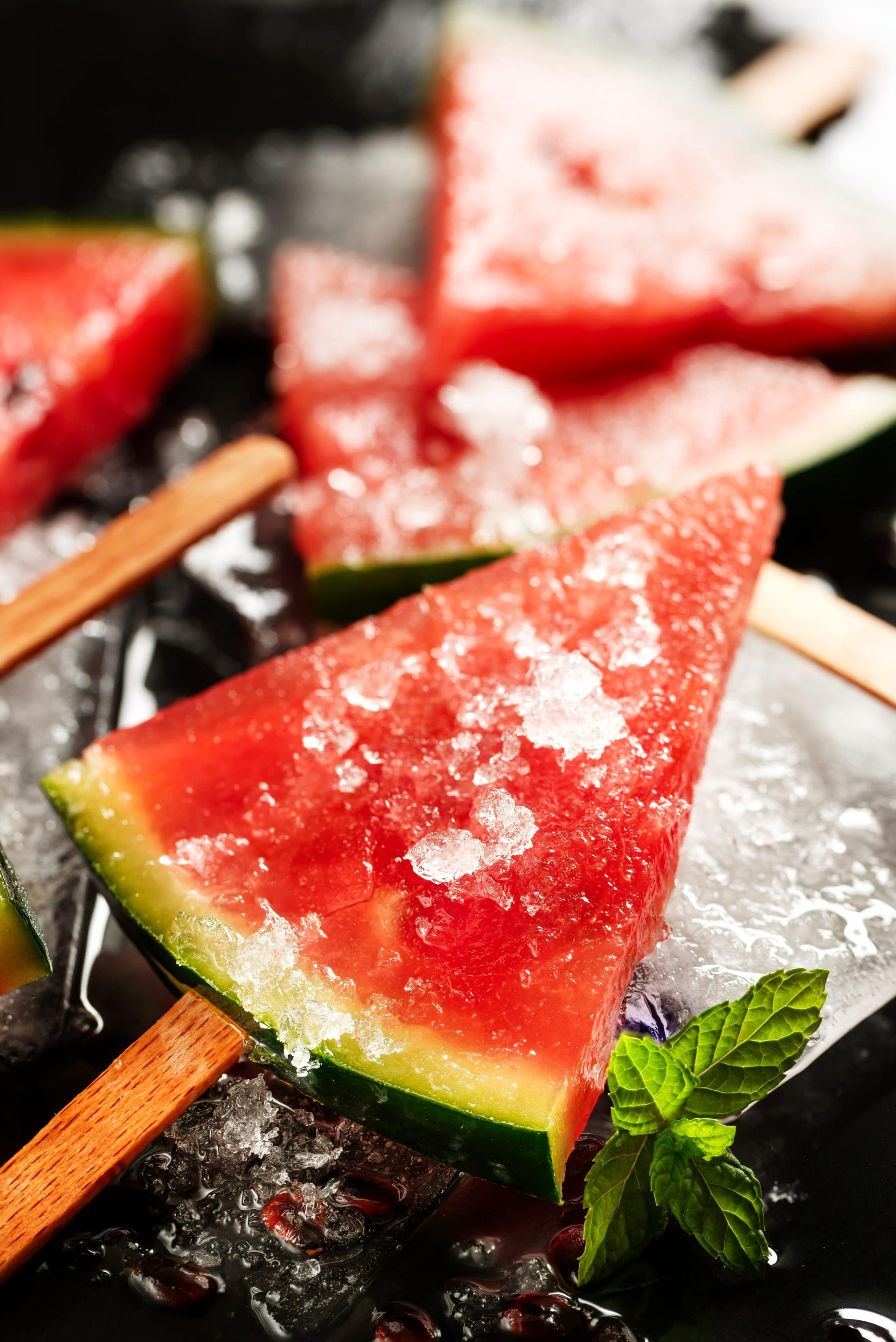 Frozen watermelon popsicles, sweet and healthy dessert