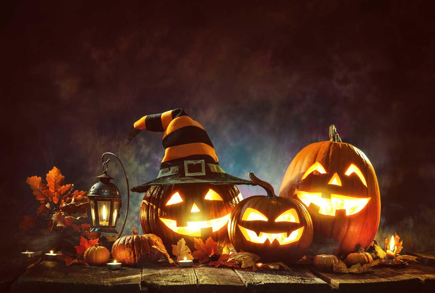 halloween pumpor, dekorationer, lekar